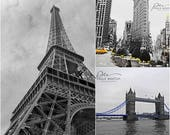 Paris London NYC art, 3 photo set, black white NYC, black white London, black white Paris, black white art set, Eiffel Tower print