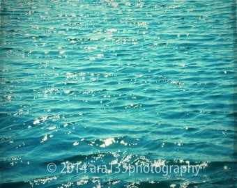 50% OFF SALE Beach Decor Ocean Art Photography Teal Blue Waves Aqua Turquoise Seascape Modern Nautical Summer Decor 5x5 inch Fine Art Print,
