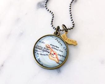 Catalina Island Map Necklace - Catalina Necklace - Catalina Jewelry - California Necklace - Map Necklace - Charm Necklace