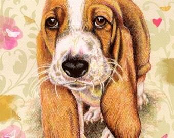 Bassett Hound Dog Greeting Cards   Free Kisses