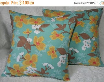 """20% OFF SALE 18x18 Pillow Cover 18"""" Dogwood Bloom Throw Pillow Cover Joel Dewberry Modern Meadow Dogwood Bloom in Sunglow"""