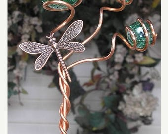 FLASH SALE Dragonfly/Butterfly Garden Plant Stake - Metal Sculpture - Glass Copper Art - Yard Lawn Outdoor Pond Decor Green