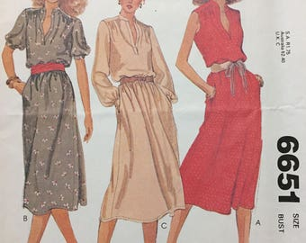 80's Misses' Pullover Dress McCall's 6651 Sewing Pattern  size 12 Bust 34 inches  Complete Sewing Pattern