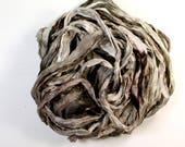 bark .. hand dyed silk ribbon yarn, recycled silk fabric ribbon, soft knitting, weaving, crochet supply