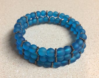 Blue glass memory wire bracelet bronze accent beads
