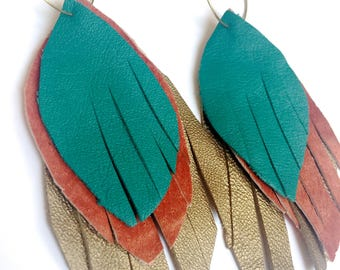 Leather Feather Earrings in soft gold, orange and turquoise - recycled leather-ecofriendly jewelry, leather feathers, feather earrings