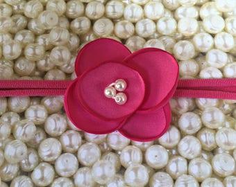 Preemie Headband, Hot Pink Baby Headband, Small Bows, Baby Bows, Newborn headbands, Nylon Headbands,Baby hair bows, Flower Headband Pink Bow