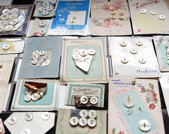 Supplies - 100 Mother of Pearl Buttons on Cards, pearl buttons, mop buttons, button cards, antique buttons, shabby buttons