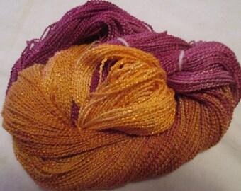 Hand painted Cotton Boucle Yarn - 315 yds.  GLITTER