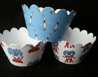 Clearance Dr. Seuss Thing 1 and Thing 2 Cupcake Wrappers (12)