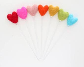 Rainbow Heart Felt Ball Drink Stirrers - Cocktail Stirrer Set - Bar Cart Set Up