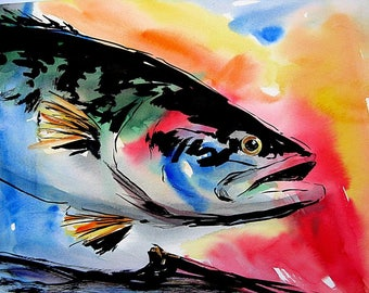 Bright Bass Watercolor print 8X10 Best cottage decor fishing art Picture by Artist Barry Singer
