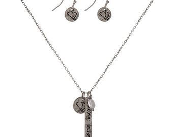 University of South Carolina Charm Necklace and Earrings Set, Silvertone