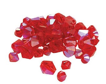 Garnet Aurora Borealis Cut Crystal Bicone Beads, 4mm to 6mm, pack of 48