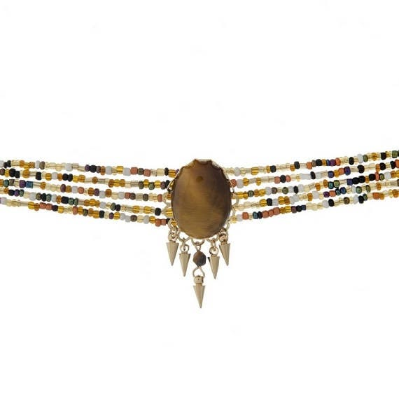 Brown Faceted Stone Focal Multi-Strand Choker