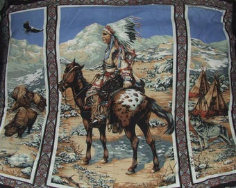 Native American Fabric Quilt Panel Indian Horse Wolf Buffalo Eagle * Discontinued Out of Production * Hard To Find *