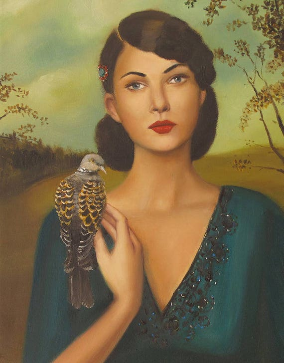 Elspeth With Her Turtledove. Art Print