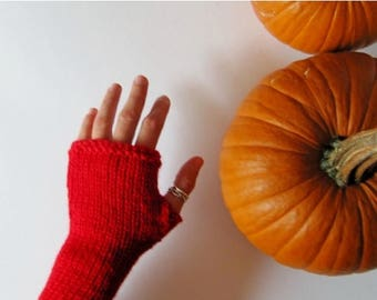 First Fall Sale - 15% Off Bright True Red Armwarmers - Pure Wool, Handknit - Natural Fiber Fingerless Gloves