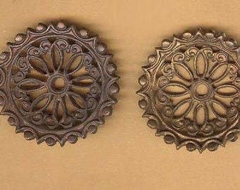 vintage SOLID BRASS finding ornate spiral design ANTIQUE brass curves forward one pair solid pieces gothic