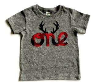 Lumberjack Birthday,Buffalo Plaid, Antlers,One,First Birthday,Fabric Iron On Appliques,Gender Neutral