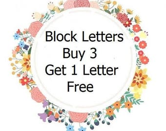 Customized Upper-Case Block Letters... Fabric Iron On Appliques...Buy 3 Letters Get 1 Letter Free...Choose From Over 60 Designer Fabrics