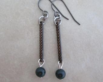 green fancy jasper earrings oxidized copper sterling silver stainless steel