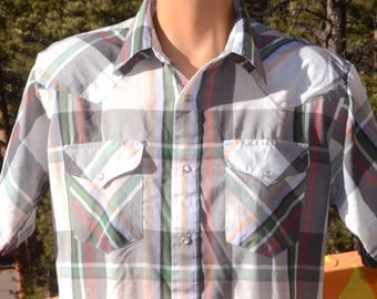 vintage 70s plaid western shirt short sleeve pearl snaps button down green Large ruddock 80s