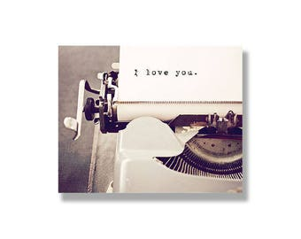 Typography canvas wall art, engagement gift, wedding gift, valentines art, vintage typewriter wall decor, romantic photo - I love you
