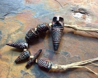 Owl Ceramic Bead Strand,  Foxpaws, Artisan Ceramic Bead