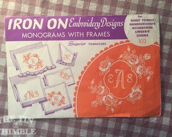 Superior Transfer Designs - Frame Transfers - NC - Embroidery Supplies / Monogram Frame Transfer / Handkerchief Transfer