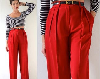 SUMMER SALE / 20% off Vintage 80s 90s ESCADA Red Wool High Waisted Pleated Trousers