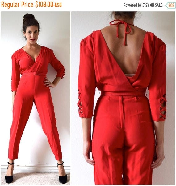 SALE SECTION / 50% off Vintage 70s 80s Siren Red Jumpsuit (size xs, small)