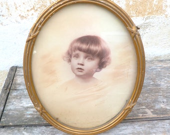 Vintage Antique 1900s French oval photo frame gilted wood & gesso stucco