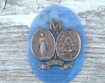 Vintage Antique 1930s French religious medal on blue celluloid rhodoid oval/ reliquary /pilgrim