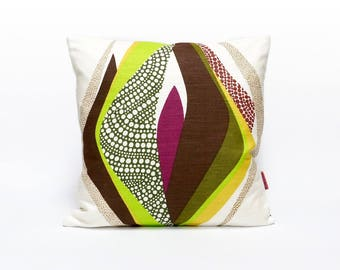 Vintage Fabric Throw Pillow, 70s cushion cover 16x16, abstract pillow for couch, mid century modern home decor handmade by EllaOsix