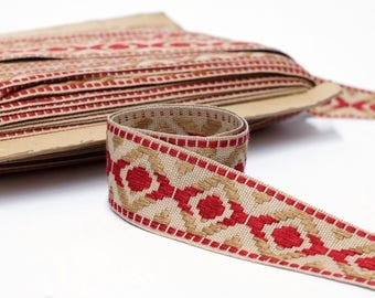 "Geometric Upholstery Trim - Trim by the Yard - Border Trim - Woven Trim - French Passementerie Trim - 45mm  - 1 3/4"" wide"