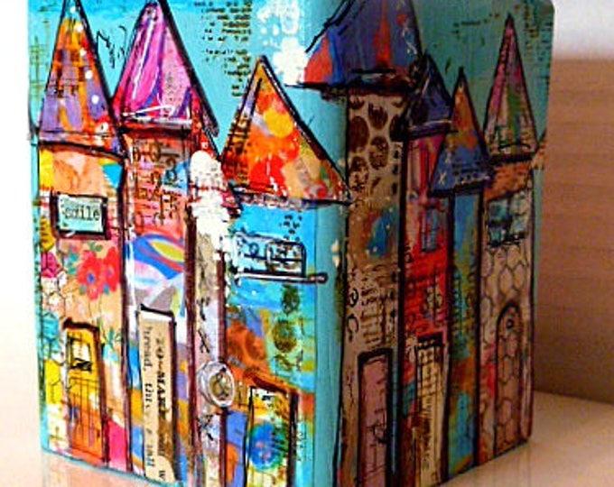 Mixed Media Art, Collage,  4x4x4x3-1/2high Wood Block -  See beauty everywhere