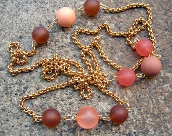 Eco-Friendly Statement Necklace - Eloquence - Recycled Vintage Classic Goldtone Metal Rollo Chain, Beads in Soft Oranges & Shades of Browns
