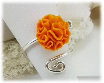Orange Marigold Adjustable Silver Wrap Ring - Marigold Jewelry, October Birthday Birth Flower