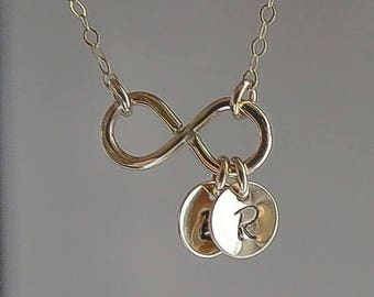 ON SALE Personalized Infinity Necklace, Sister Mother Infinity Jewelry, Up to Three Initials, Gold or Silver Necklace, Customized Necklace G