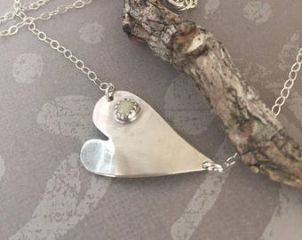 ON SALE Sterling Silver Heart Necklace and Tiny Opal October Birthstone Bridal Jewelry Mothers Day Necklace Gift for Mom Anniversary Mom to