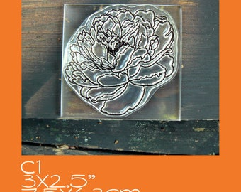 C1 Large Peony Flower Crystal Clear Rubber Stamp, Mounted