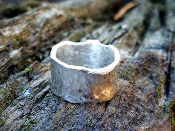 Sterling Silver Wide Ring Band Irregular Wavy Edged with a Hammered Texture , Chunky Wide Unique Ring Band, Organic Ring Band