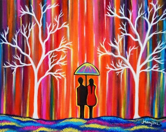 Colors Of Love Romantic Colorful Rainy Painting excellent gift art on sale