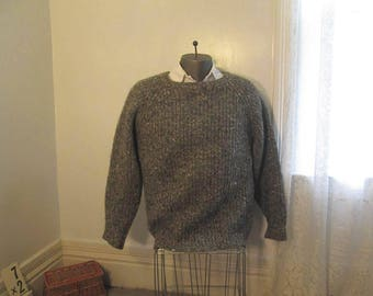 Irish Wool pullover sweater Gray Tweed Knit Vintage 80s Sweater wool Pullover Thick Warm wool Winter pullover M L