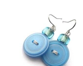 Christmas in July Sale Light Ice Blue Funky Vintage Button Earrings