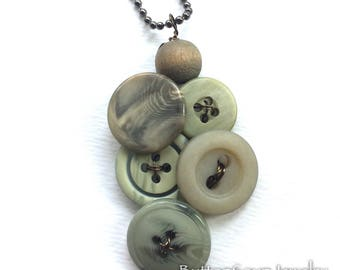 Sage Green Swirl Vintage Button Pendant Style Necklace
