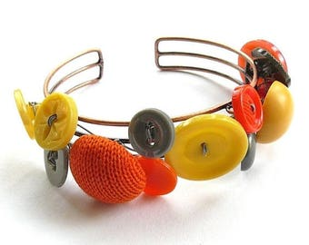 BUTTON JEWELRY SALE Orange Yellow and Gray Button Jewelry Cuff Bracelet