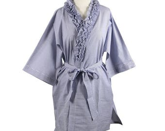 Ruffled V Neck 100% Cotton Seersucker Robe / Dressing Gown - Custom Embroidered with Monogram, First Name or the Word Bride, Bridesmaid, Etc