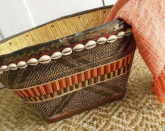 Tribe Vibes...  Vintage Handmade African Tribal Basket Cowrie Shells Leather Woven Wall Basket Bohemian Boho Decor Style